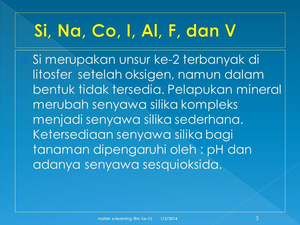  Si merupakan unsur ke-2 terbanyak di litosfer setelah oksigen, namun dalam bentuk tidak tersedia.