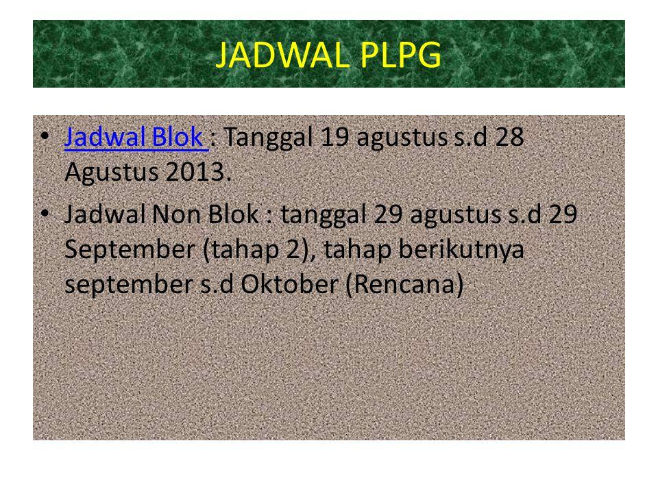 JADWAL PLPG Jadwal Blok : Tanggal 19 agustus s.d 28 Agustus 2013. Jadwal Blok Jadwal Non Blok : tanggal 29 agustus s.d 29 September (tahap 2), tahap b
