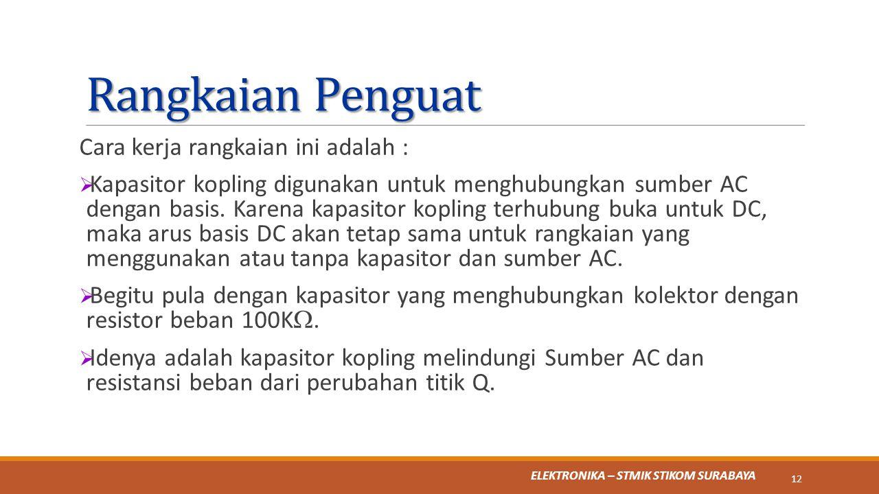 ELEKTRONIKA – STMIK STIKOM SURABAYA Rangkaian Penguat Cara kerja rangkaian ini adalah :  Kapasitor kopling digunakan untuk menghubungkan sumber AC de