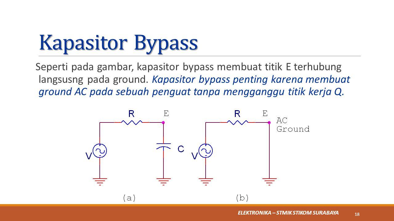 ELEKTRONIKA – STMIK STIKOM SURABAYA Kapasitor Bypass Seperti pada gambar, kapasitor bypass membuat titik E terhubung langsusng pada ground. Kapasitor