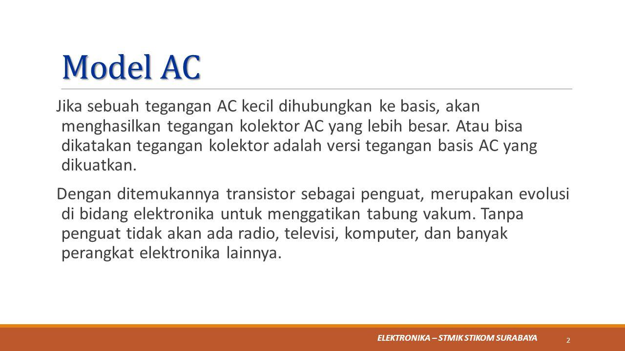 ELEKTRONIKA – STMIK STIKOM SURABAYA Model AC Jika sebuah tegangan AC kecil dihubungkan ke basis, akan menghasilkan tegangan kolektor AC yang lebih bes