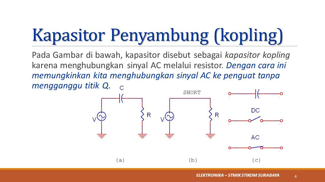 ELEKTRONIKA – STMIK STIKOM SURABAYA Kapasitor Penyambung (kopling) Pada Gambar di bawah, kapasitor disebut sebagai kapasitor kopling karena menghubung