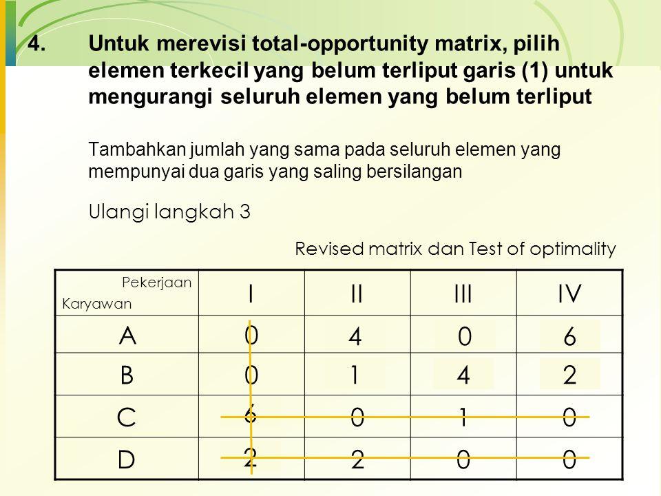 3.Melakukan test optimalisasi dengan menarik sejumlah minimum garis horisontal dan/atau vertikal untuk meliput seluruh elemen bernilai nol Penugasan o