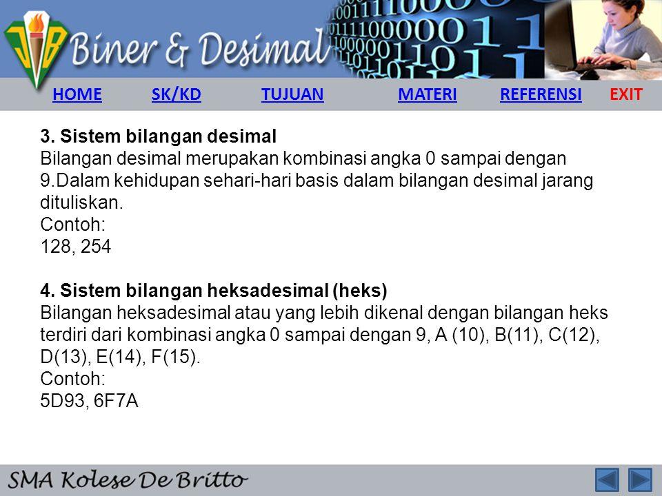 3. Sistem bilangan desimal Bilangan desimal merupakan kombinasi angka 0 sampai dengan 9.Dalam kehidupan sehari-hari basis dalam bilangan desimal jaran