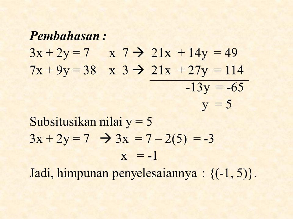 Pembahasan : 3x + 2y = 7 x 7  21x + 14y = 49 7x + 9y = 38 x 3  21x + 27y = 114 -13y = -65 y = 5 Subsitusikan nilai y = 5 3x + 2y = 7  3x = 7 – 2(5) = -3 x = -1 Jadi, himpunan penyelesaiannya : {(-1, 5)}.