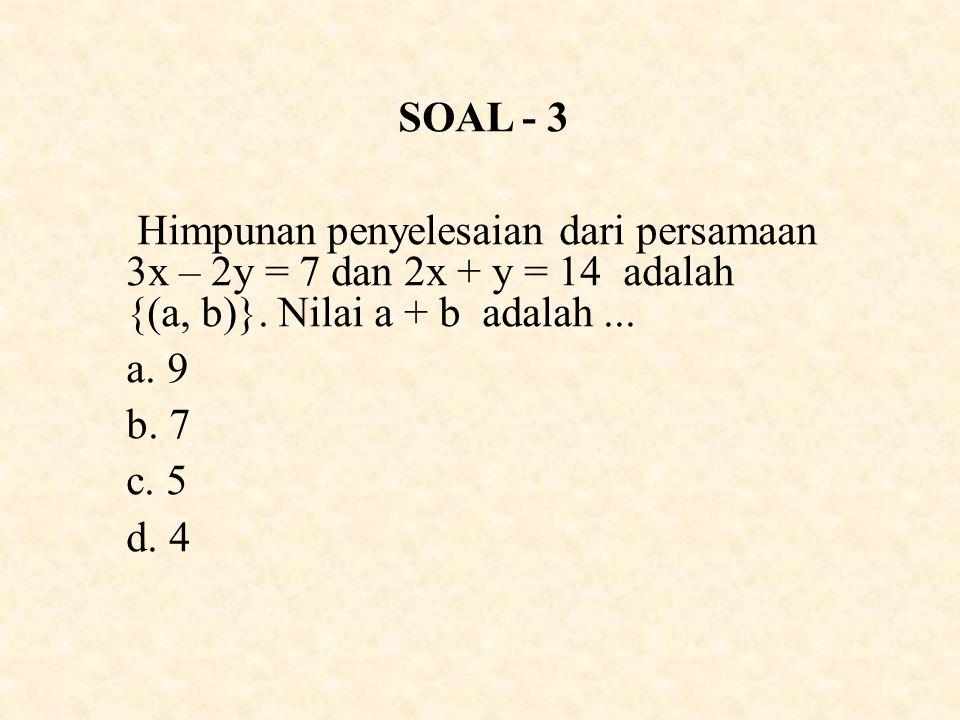 SOAL - 3 Himpunan penyelesaian dari persamaan 3x – 2y = 7 dan 2x + y = 14 adalah {(a, b)}.