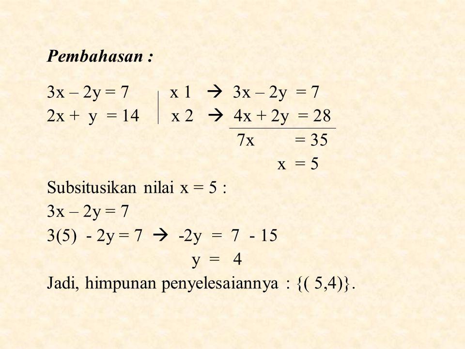 Pembahasan : 3x – 2y = 7 x 1  3x – 2y = 7 2x + y = 14 x 2  4x + 2y = 28 7x = 35 x = 5 Subsitusikan nilai x = 5 : 3x – 2y = 7 3(5) - 2y = 7  -2y = 7 - 15 y = 4 Jadi, himpunan penyelesaiannya : {( 5,4)}.