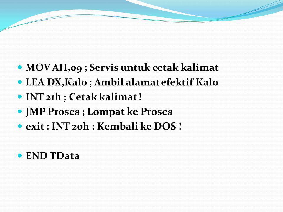 MOV AH,09 ; Servis untuk cetak kalimat LEA DX,Kal0 ; Ambil alamat efektif Kal0 INT 21h ; Cetak kalimat ! JMP Proses ; Lompat ke Proses exit : INT 20h