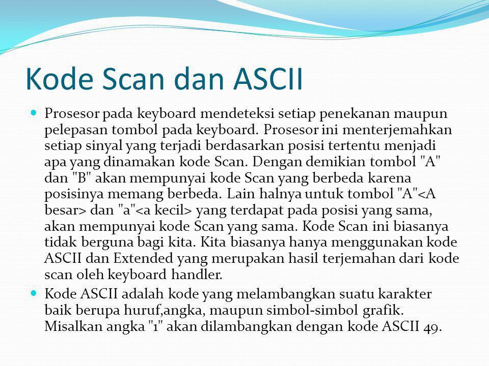Kode Scan dan ASCII Prosesor pada keyboard mendeteksi setiap penekanan maupun pelepasan tombol pada keyboard. Prosesor ini menterjemahkan setiap sinya