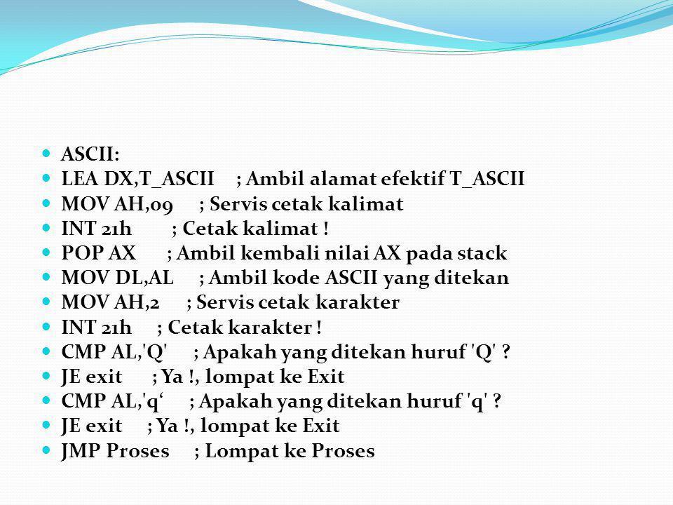 ASCII: LEA DX,T_ASCII ; Ambil alamat efektif T_ASCII MOV AH,09 ; Servis cetak kalimat INT 21h ; Cetak kalimat ! POP AX ; Ambil kembali nilai AX pada s
