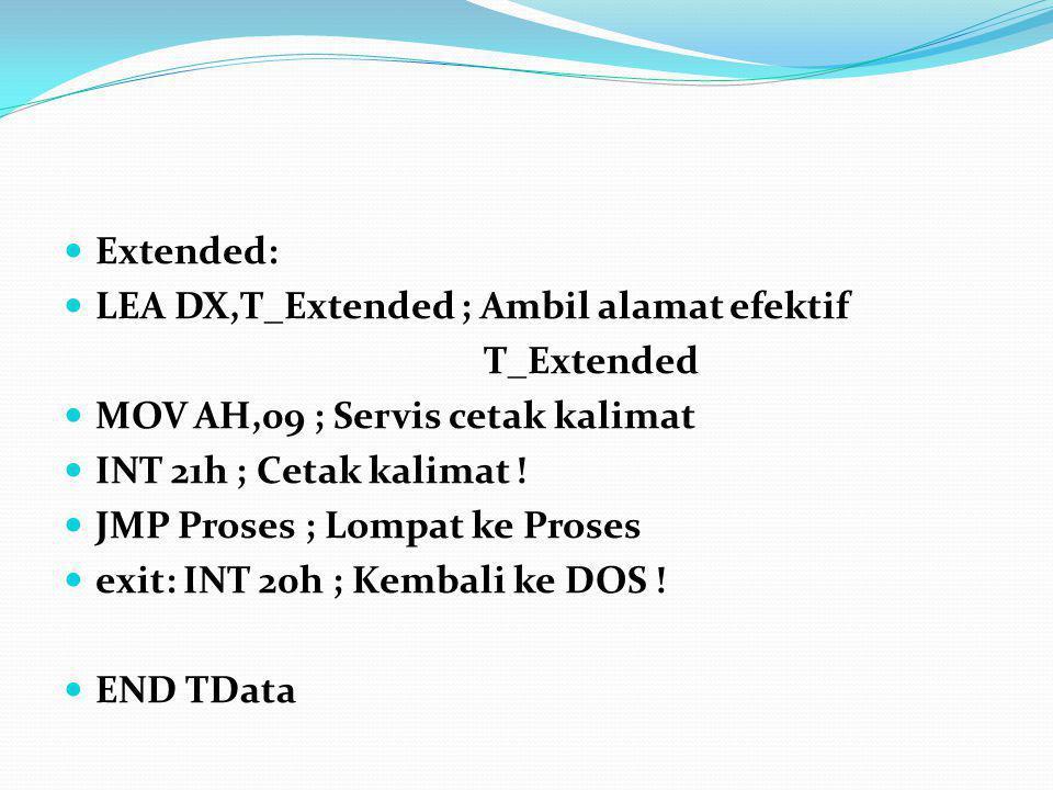 Extended: LEA DX,T_Extended ; Ambil alamat efektif T_Extended MOV AH,09 ; Servis cetak kalimat INT 21h ; Cetak kalimat ! JMP Proses ; Lompat ke Proses