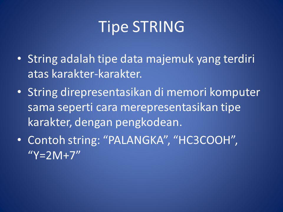 Tipe STRING String adalah tipe data majemuk yang terdiri atas karakter-karakter. String direpresentasikan di memori komputer sama seperti cara merepre