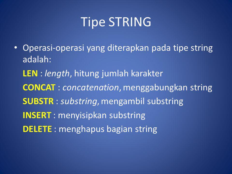 Tipe STRING Operasi-operasi yang diterapkan pada tipe string adalah: LEN : length, hitung jumlah karakter CONCAT : concatenation, menggabungkan string