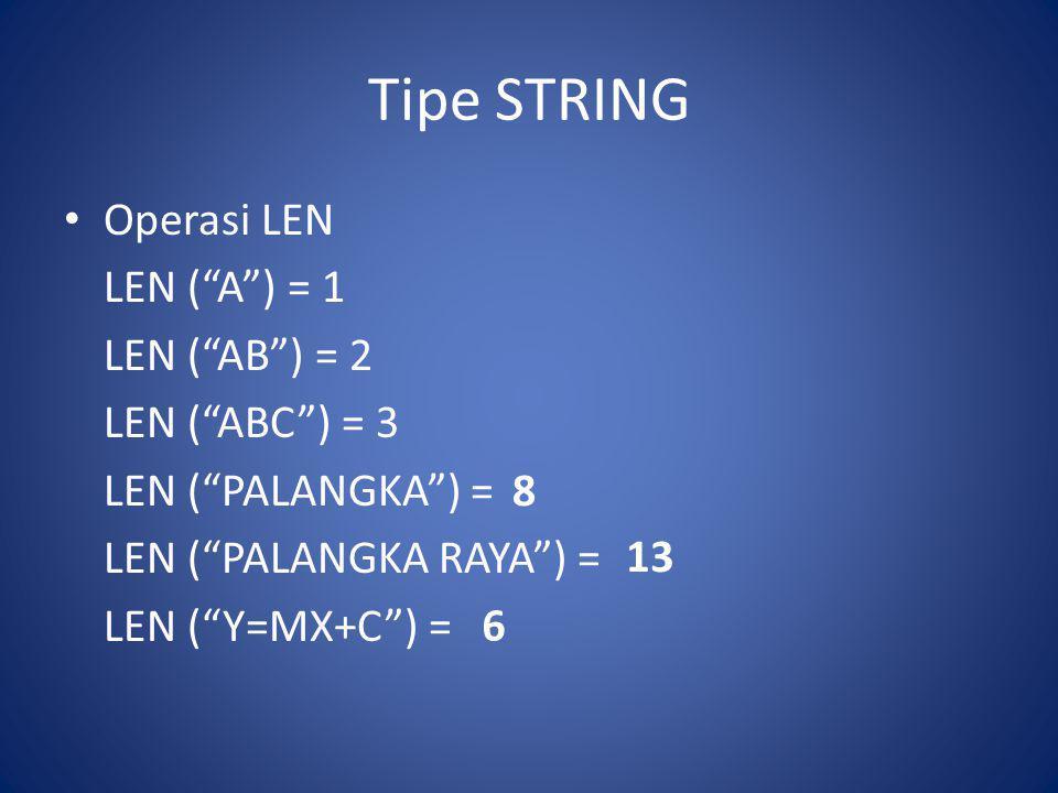 """Tipe STRING Operasi LEN LEN (""""A"""") = 1 LEN (""""AB"""") = 2 LEN (""""ABC"""") = 3 LEN (""""PALANGKA"""") = LEN (""""PALANGKA RAYA"""") = LEN (""""Y=MX+C"""") = 8 13 6"""