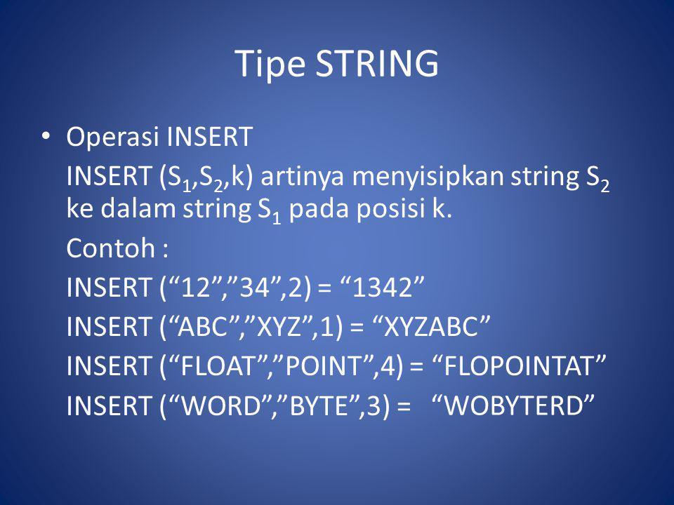 """Tipe STRING Operasi INSERT INSERT (S 1,S 2,k) artinya menyisipkan string S 2 ke dalam string S 1 pada posisi k. Contoh : INSERT (""""12"""",""""34"""",2) = """"1342"""""""
