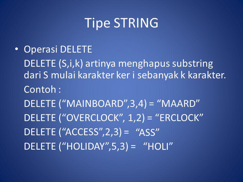 """Tipe STRING Operasi DELETE DELETE (S,i,k) artinya menghapus substring dari S mulai karakter ker i sebanyak k karakter. Contoh : DELETE (""""MAINBOARD"""",3,"""