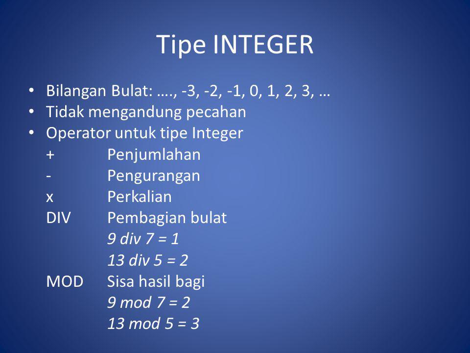 Tipe INTEGER Bilangan Bulat: …., -3, -2, -1, 0, 1, 2, 3, … Tidak mengandung pecahan Operator untuk tipe Integer +Penjumlahan -Pengurangan xPerkalian D