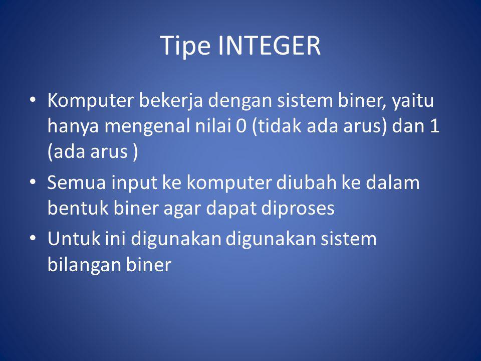 Tipe INTEGER Komputer bekerja dengan sistem biner, yaitu hanya mengenal nilai 0 (tidak ada arus) dan 1 (ada arus ) Semua input ke komputer diubah ke d