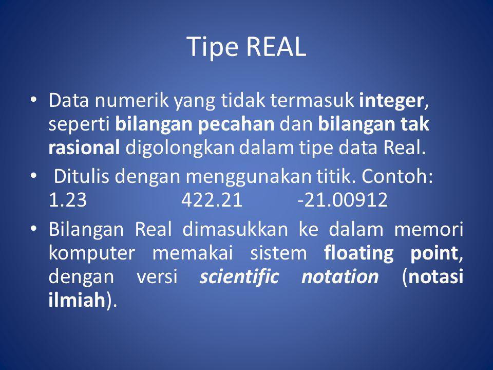 Tipe REAL Data numerik yang tidak termasuk integer, seperti bilangan pecahan dan bilangan tak rasional digolongkan dalam tipe data Real. Ditulis denga