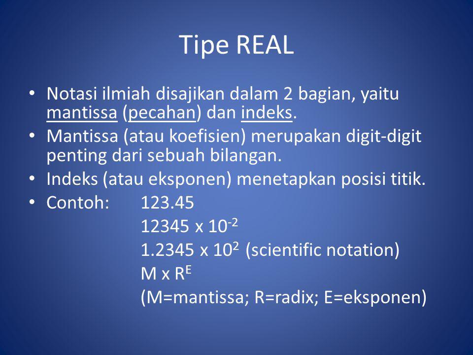 Tipe REAL Notasi ilmiah disajikan dalam 2 bagian, yaitu mantissa (pecahan) dan indeks. Mantissa (atau koefisien) merupakan digit-digit penting dari se