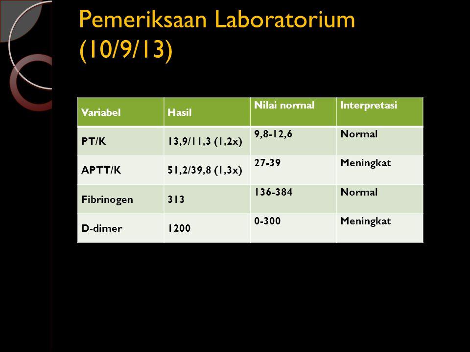 Pemeriksaan Laboratorium (10/9/13) VariabelHasil Nilai normalInterpretasi PT/K13,9/11,3 (1,2x) 9,8-12,6Normal APTT/K51,2/39,8 (1,3x) 27-39Meningkat Fi