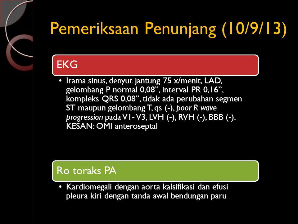 Pemeriksaan Penunjang (10/9/13) EKG Irama sinus, denyut jantung 75 x/menit, LAD, gelombang P normal 0,08'', interval PR 0,16'', kompleks QRS 0,08'', t