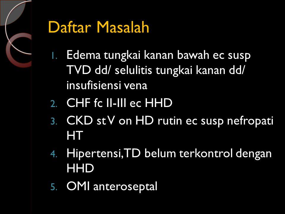 Daftar Masalah 1. Edema tungkai kanan bawah ec susp TVD dd/ selulitis tungkai kanan dd/ insufisiensi vena 2. CHF fc II-III ec HHD 3. CKD st V on HD ru