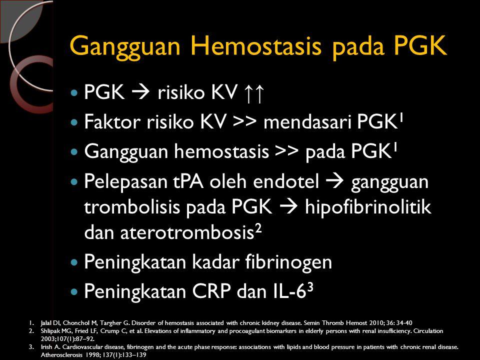 Gangguan Hemostasis pada PGK PGK  risiko KV ↑↑ Faktor risiko KV >> mendasari PGK 1 Gangguan hemostasis >> pada PGK 1 Pelepasan tPA oleh endotel  gan