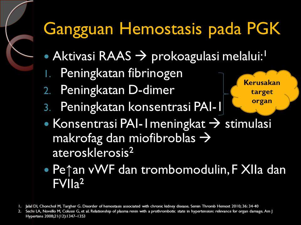 Gangguan Hemostasis pada PGK Aktivasi RAAS  prokoagulasi melalui: 1 1. Peningkatan fibrinogen 2. Peningkatan D-dimer 3. Peningkatan konsentrasi PAI-1