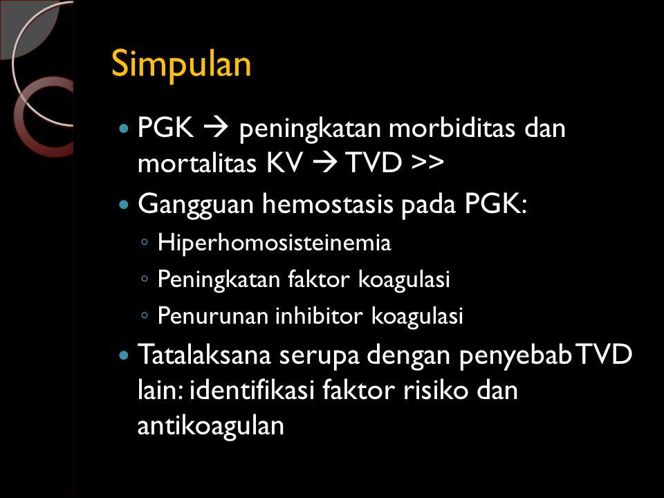 Simpulan PGK  peningkatan morbiditas dan mortalitas KV  TVD >> Gangguan hemostasis pada PGK: ◦ Hiperhomosisteinemia ◦ Peningkatan faktor koagulasi ◦