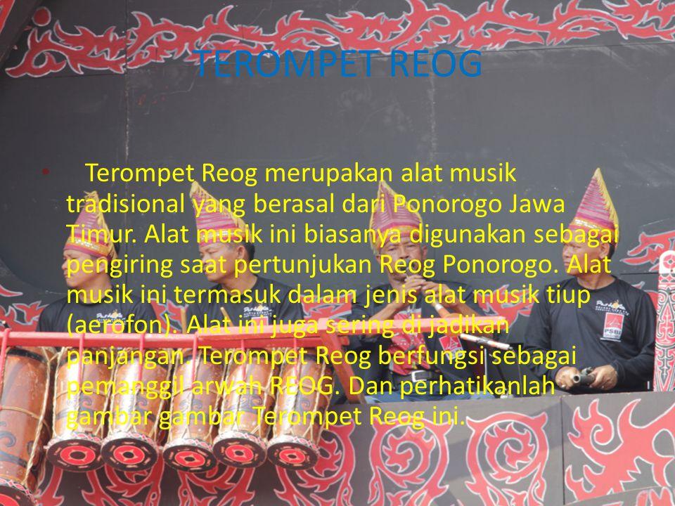 TEROMPET REOG Terompet Reog merupakan alat musik tradisional yang berasal dari Ponorogo Jawa Timur. Alat musik ini biasanya digunakan sebagai pengirin