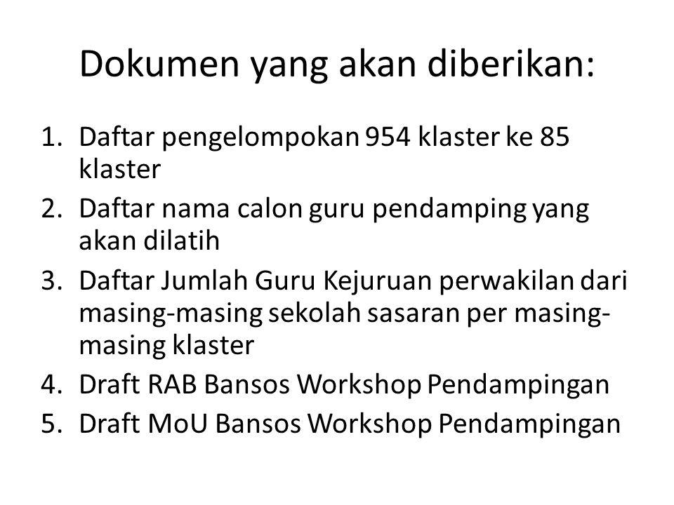 DRAFT RAB BANSOS WORKSHOP PENDAMPINGAN K13 1.Jenis dana adalah Dana Bantuan Sosial yang akan dicairkan sekaligus melalui KPPN Kemenkeu ke Rekenins SMK Klaster 2.Alokasi RAB untuk kegiatan sbb: Persiapan (2 kegiatan) Workshop Guru Pendamping Mapel dan Kejuruan di Institusi Workshop Guru Sasaran Kejuruan di setiap SMK Klaster (Koordinasi, Persiapan dan Workshop Guru Kejuruan di Klaster) Administrasi Pelaporan dan Dokumentasi 3.Terdapat unsur biaya dalam kegiatan yang tidak dialokasikan dalam dana Bansos ini (dipenuhi sesuai kebijakan masing-masing sekolah: BOS/Komite/Pemkab/…) 4.Pagu dana masing-masing klaster sudah tetap (apabila ada kasus ekstrim dapat dikonsultasikan dengan fasilitator) 5.Optimalisasikan Pagu dana yang ada (berikan akomodasi/ transport addcost dan hanya yang memerlukan