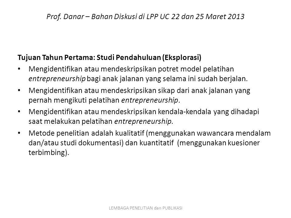 Prof. Danar – Bahan Diskusi di LPP UC 22 dan 25 Maret 2013 Tujuan Tahun Pertama: Studi Pendahuluan (Eksplorasi) Mengidentifikan atau mendeskripsikan p