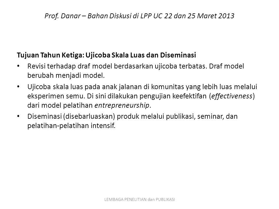 Prof. Danar – Bahan Diskusi di LPP UC 22 dan 25 Maret 2013 Tujuan Tahun Ketiga: Ujicoba Skala Luas dan Diseminasi Revisi terhadap draf model berdasark