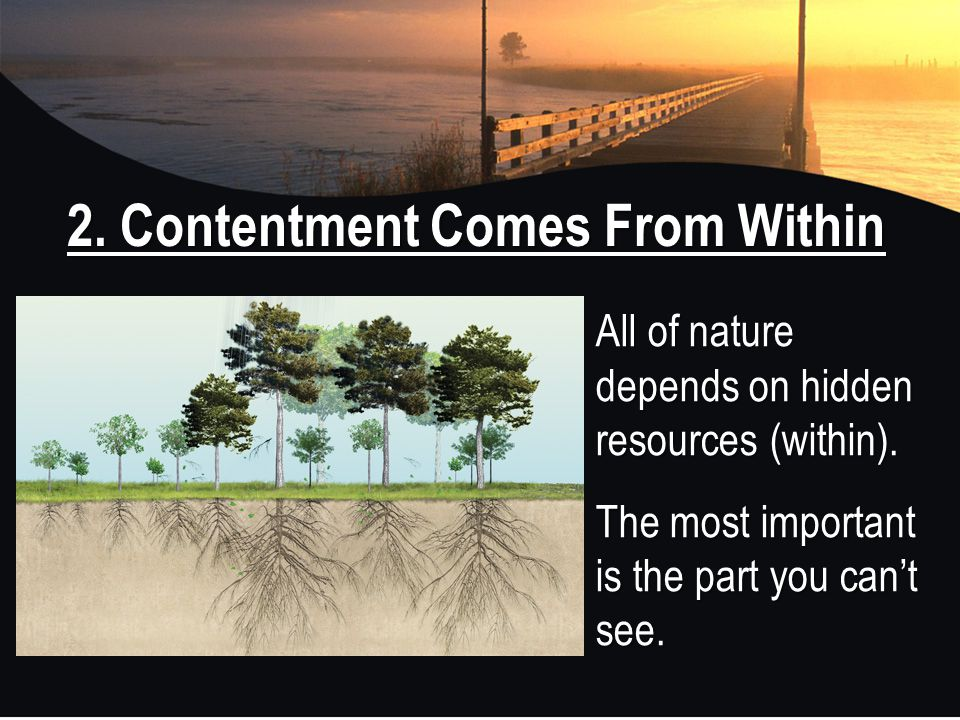 2. Contentment Comes From Within All of nature depends on hidden resources (within). The most important is the part you can't see.