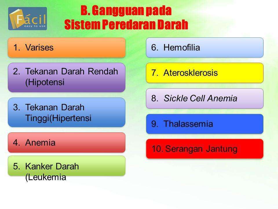B. Gangguan pada Sistem Peredaran Darah 1.Varises 2.Tekanan Darah Rendah (Hipotensi 3.Tekanan Darah Tinggi(Hipertensi 4.Anemia 5.Kanker Darah (Leukemi