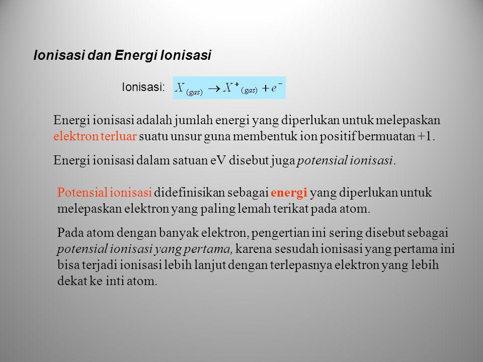 Ionisasi dan Energi Ionisasi Energi ionisasi adalah jumlah energi yang diperlukan untuk melepaskan elektron terluar suatu unsur guna membentuk ion pos