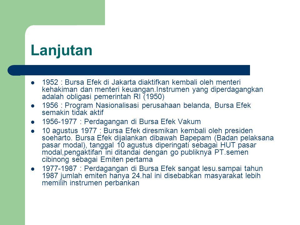 Lanjutan 1952 : Bursa Efek di Jakarta diaktifkan kembali oleh menteri kehakiman dan menteri keuangan.Instrumen yang diperdagangkan adalah obligasi pem
