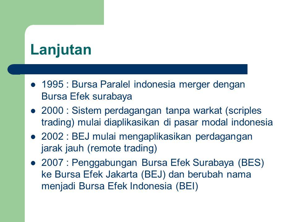 Lanjutan 1995 : Bursa Paralel indonesia merger dengan Bursa Efek surabaya 2000 : Sistem perdagangan tanpa warkat (scriples trading) mulai diaplikasika