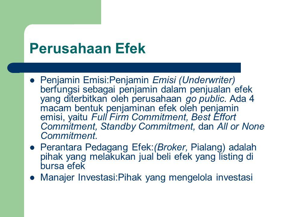 Perusahaan Efek Penjamin Emisi:Penjamin Emisi (Underwriter) berfungsi sebagai penjamin dalam penjualan efek yang diterbitkan oleh perusahaan go public.