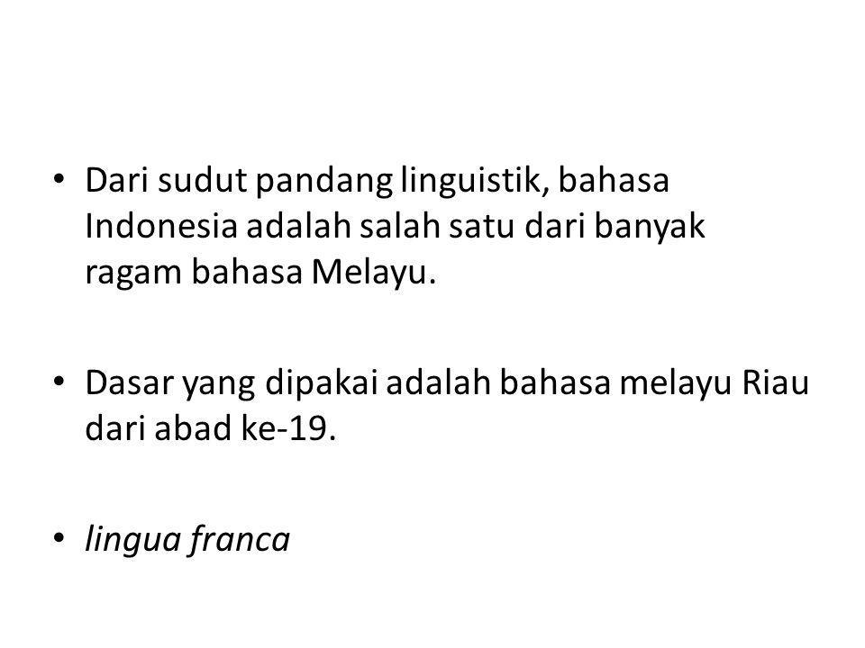 Dari sudut pandang linguistik, bahasa Indonesia adalah salah satu dari banyak ragam bahasa Melayu. Dasar yang dipakai adalah bahasa melayu Riau dari a