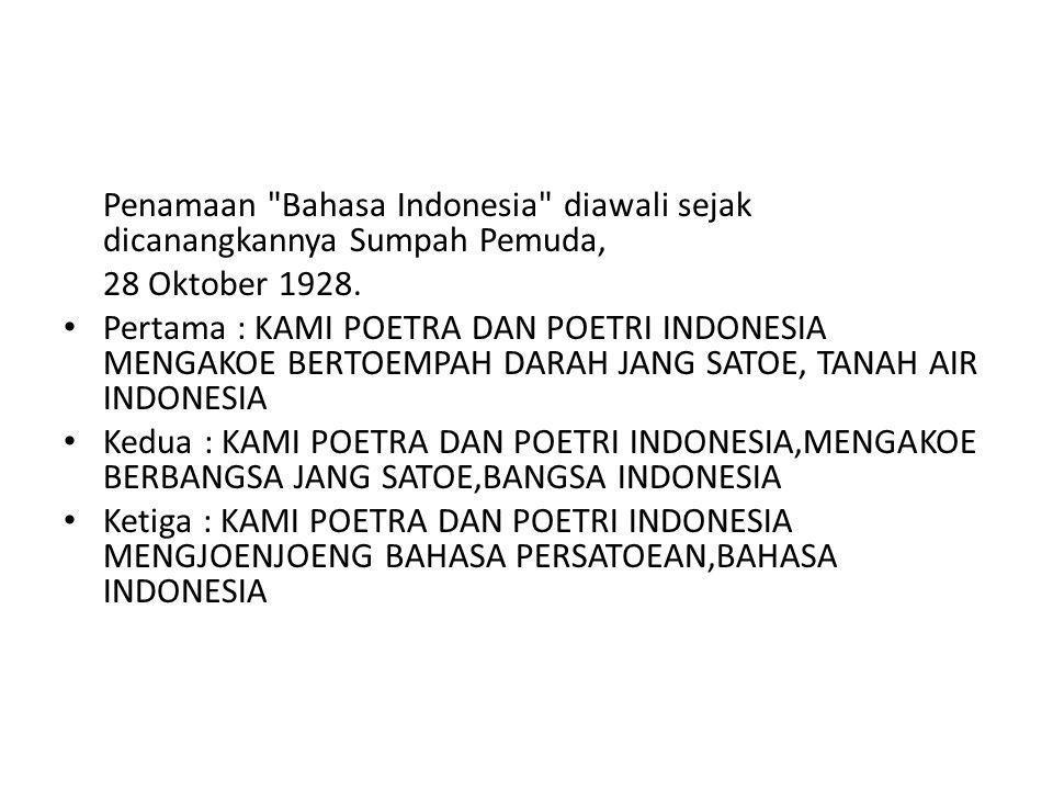 Penamaan Bahasa Indonesia diawali sejak dicanangkannya Sumpah Pemuda, 28 Oktober 1928.