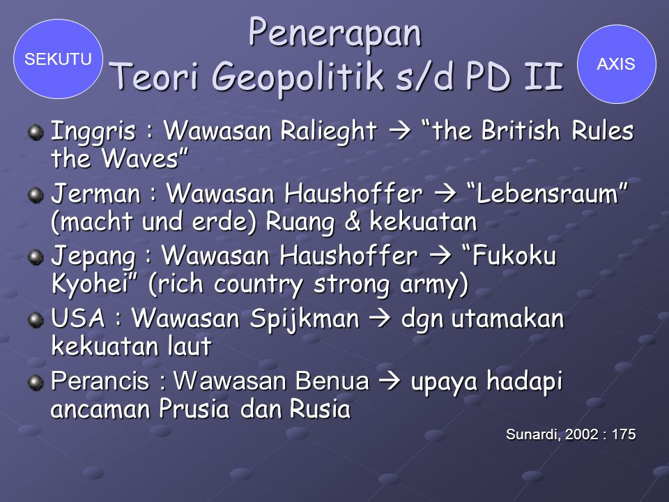 "Penerapan Teori Geopolitik s/d PD II Inggris : Wawasan Ralieght  ""the British Rules the Waves"" Jerman : Wawasan Haushoffer  ""Lebensraum"" (macht und"