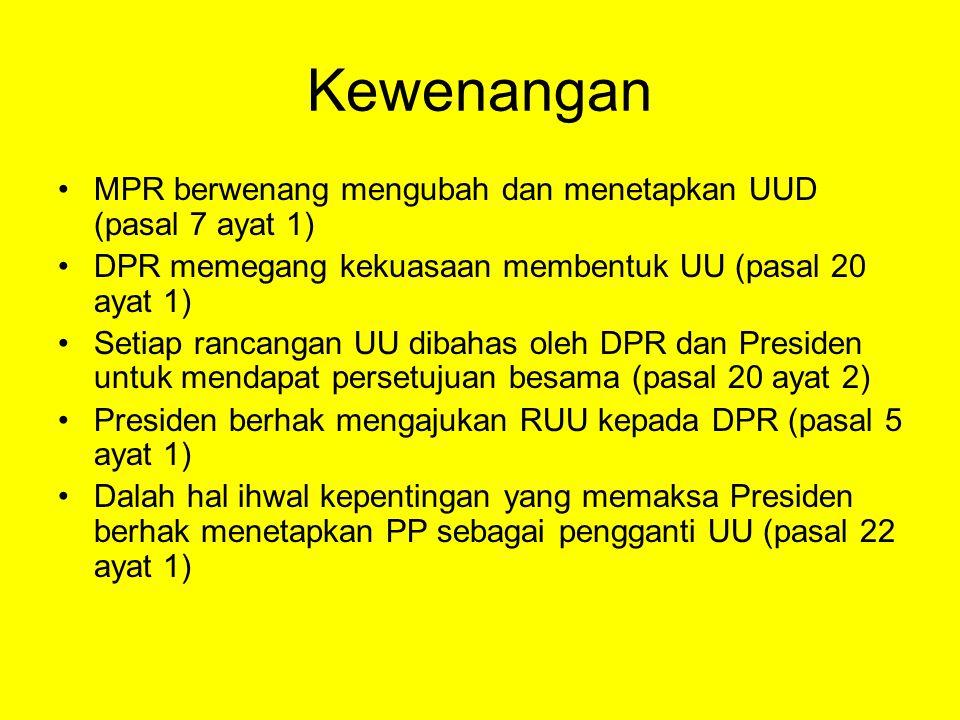 Kewenangan MPR berwenang mengubah dan menetapkan UUD (pasal 7 ayat 1) DPR memegang kekuasaan membentuk UU (pasal 20 ayat 1) Setiap rancangan UU dibahas oleh DPR dan Presiden untuk mendapat persetujuan besama (pasal 20 ayat 2) Presiden berhak mengajukan RUU kepada DPR (pasal 5 ayat 1) Dalah hal ihwal kepentingan yang memaksa Presiden berhak menetapkan PP sebagai pengganti UU (pasal 22 ayat 1)