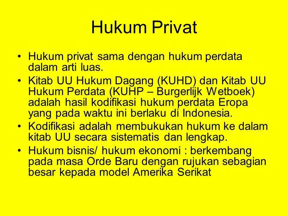 Hukum Privat Hukum privat sama dengan hukum perdata dalam arti luas.