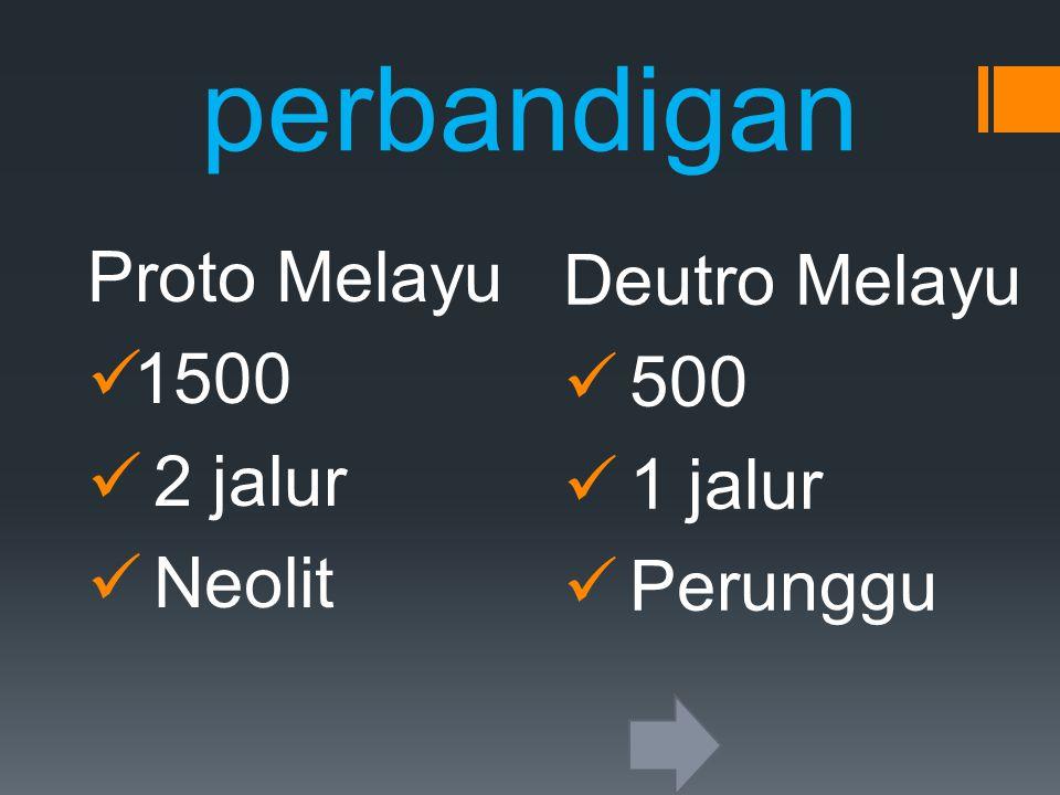 perbandigan Proto Melayu 1500 2 jalur Neolit Deutro Melayu 500 1 jalur Perunggu