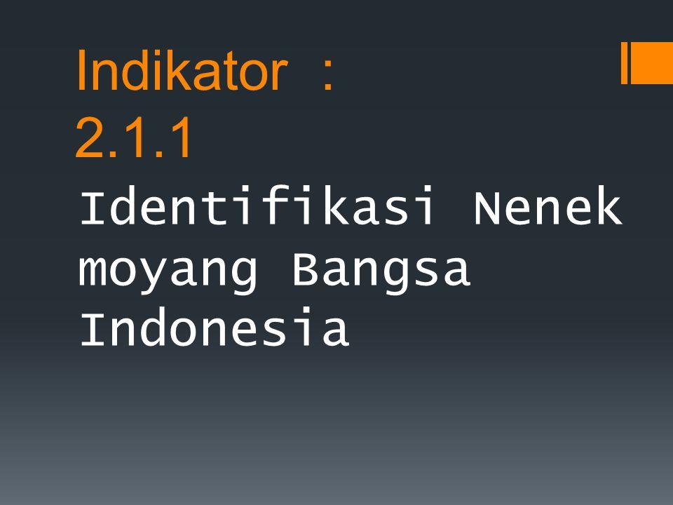 Indikator : 2.1.1 Identifikasi Nenek moyang Bangsa Indonesia