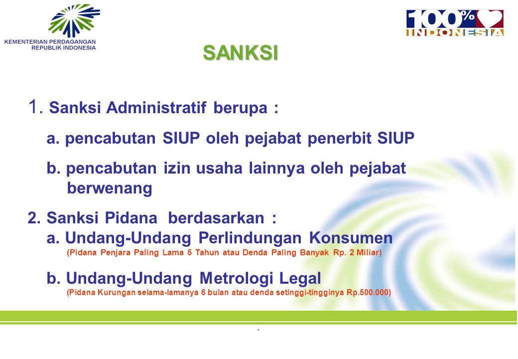 1. Sanksi Administratif berupa : a. pencabutan SIUP oleh pejabat penerbit SIUP b. pencabutan izin usaha lainnya oleh pejabat berwenang 2.Sanksi Pidana