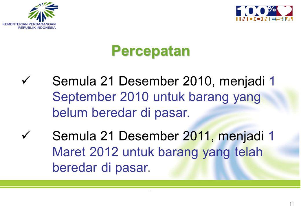 11 Semula 21 Desember 2010, menjadi 1 September 2010 untuk barang yang belum beredar di pasar. Semula 21 Desember 2011, menjadi 1 Maret 2012 untuk bar