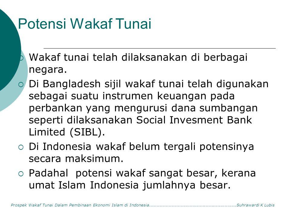 Potensi Wakaf Tunai  Wakaf tunai telah dilaksanakan di berbagai negara.  Di Bangladesh sijil wakaf tunai telah digunakan sebagai suatu instrumen keu